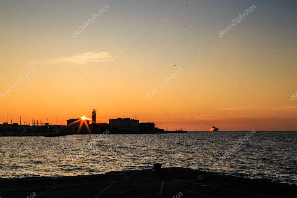 winter evening in the gulf of Trieste