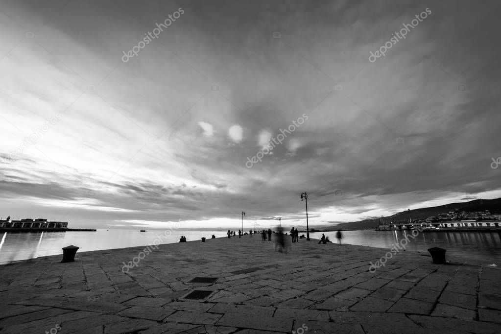 The Molo Audace pier of Trieste in a winter evening