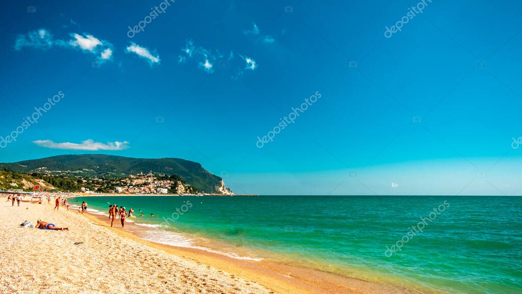 The beach of Numana with the Conero mount in the background in a beautiful summer day