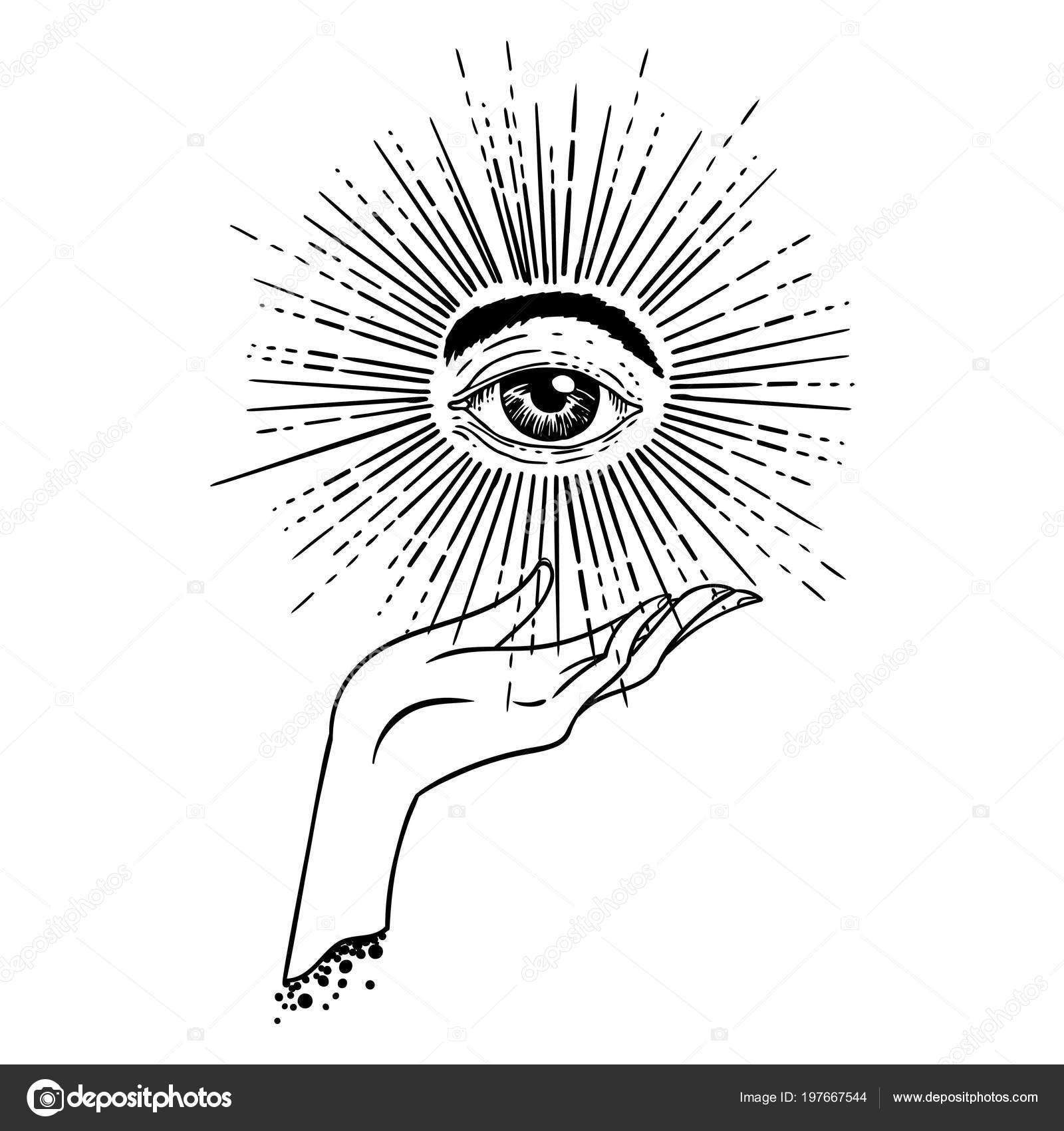 Beautiful Hand Drawing Hand Holding Star Eye Symbol Tattoo Design