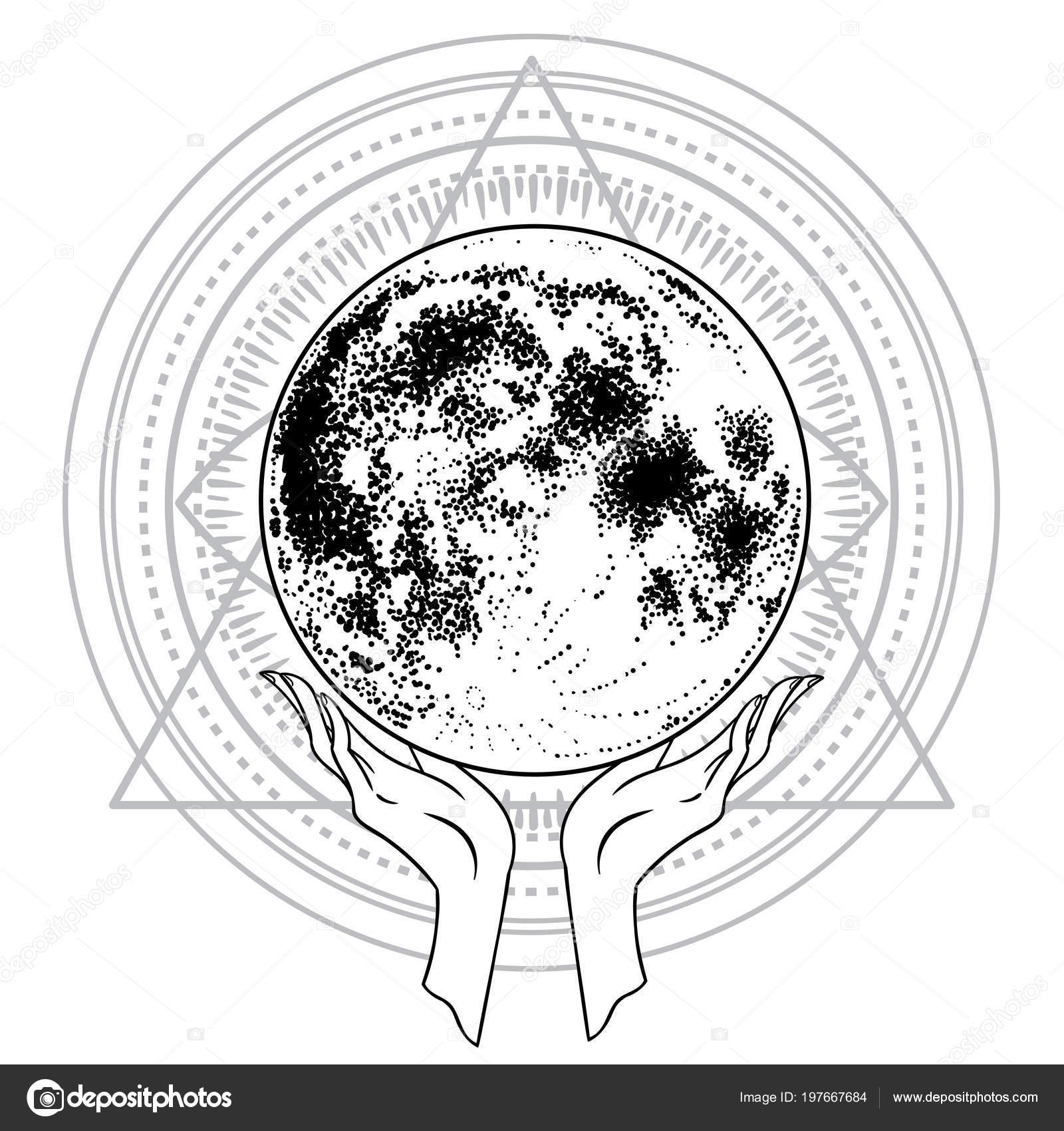 Beautiful Hand Drawing Hand Holding Planet Vector Illustration
