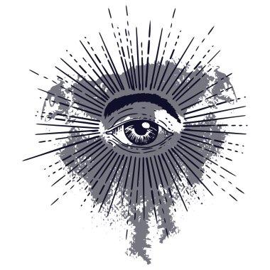 Set of Masonic Freemasonry Emblem God symbol. Masonic square and compass symbol. Trendy alchemy element.