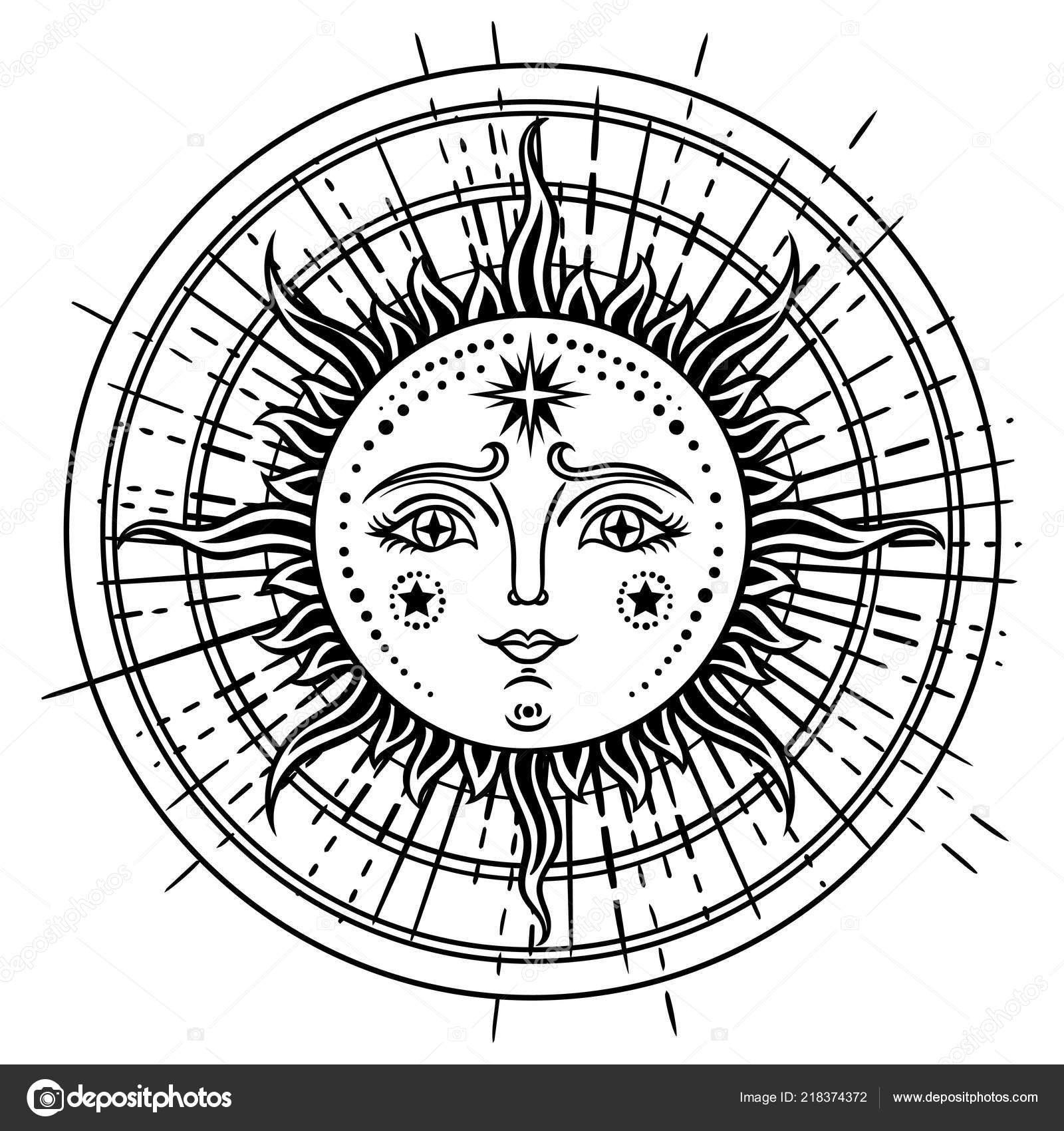 Vintage Main Dessinee Soleil Lune Visage Retro Illustration Soleil