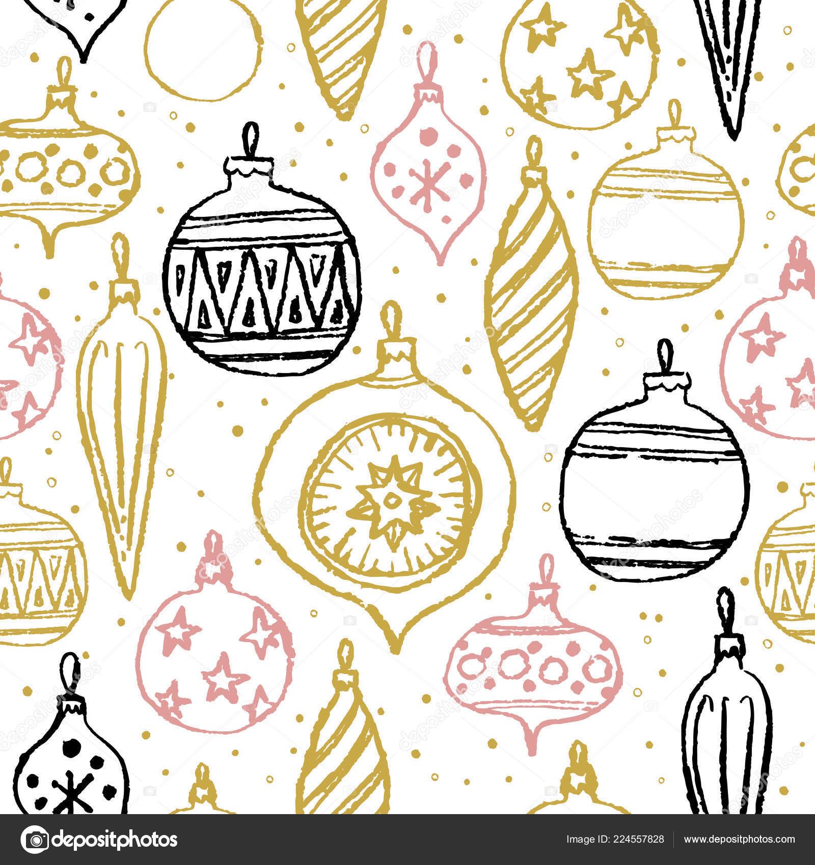 Weihnachten Hand Gezeichnete Nahtlose Muster Zusammenfassung