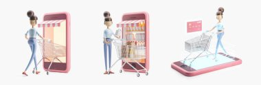 cartoon character with a shopping cart. set of 3d illustrations. internet shopping