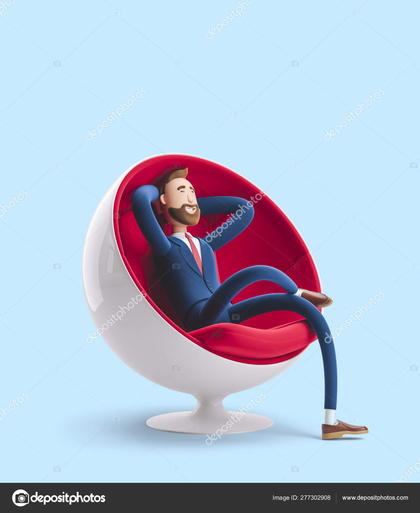 Magnificent Handsome Cartoon Character Billy Sitting In An Egg Chair And Unemploymentrelief Wooden Chair Designs For Living Room Unemploymentrelieforg