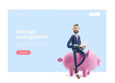 Portrait of a handsome cartoon character with piggy bank. Safe money storage concept. 3d illustration. Web banner, start site page, infographics. stock vector