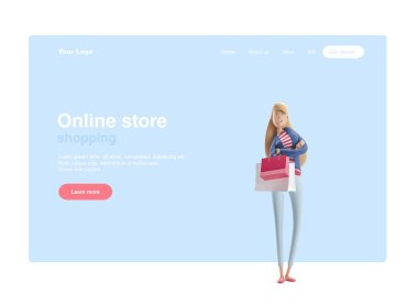 3d illustration. Young business woman Emma standing with bags from stores on a blue background. Web banner, start site page, infographics, shopping and online shopping concept.