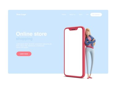 3d illustration. Young business woman Emma standing with  big phone on a blue background. Web banner, start site page, infographics, online shopping concept.