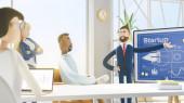 Koncept tvůrčího týmu. Moderní kancelář. 3D ilustrace. Kreslené postavy. Lidé pracují v týmu a dosahují cíle. Koncepce spouštění.