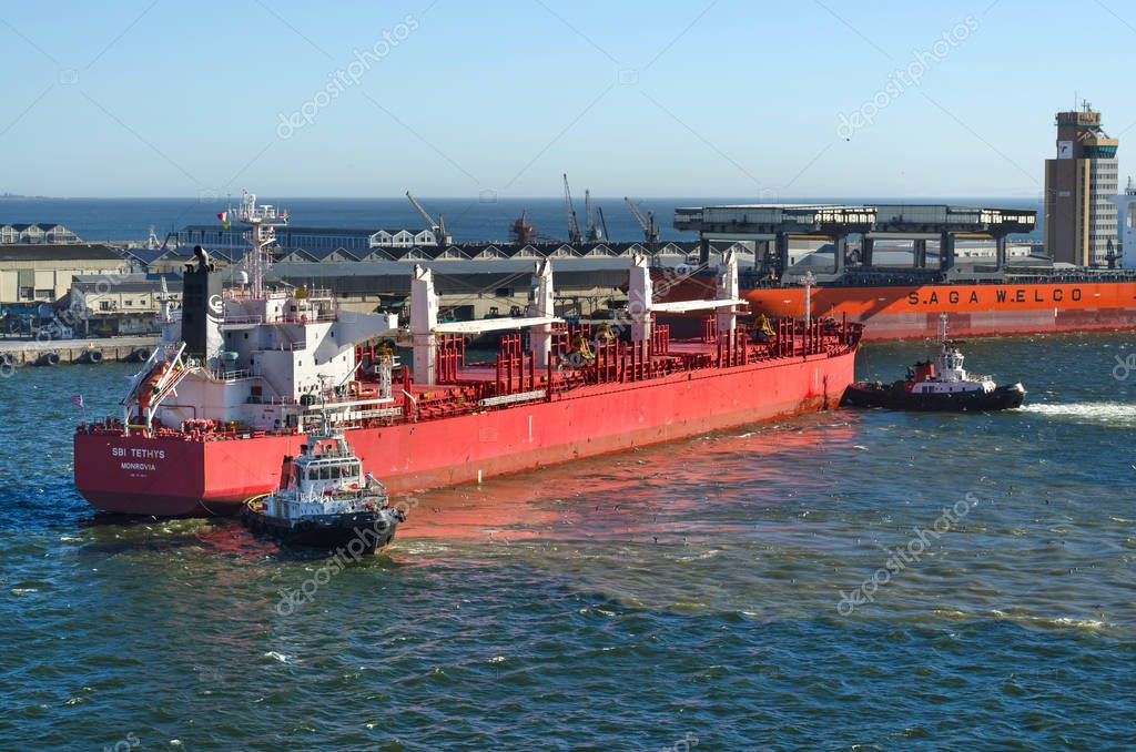 Cape Town, Republic of South Africa - April 10: Vessel moor to the berth in port of Cape Town on April 10, 2018 in Cape Town, Republic of South Africa.