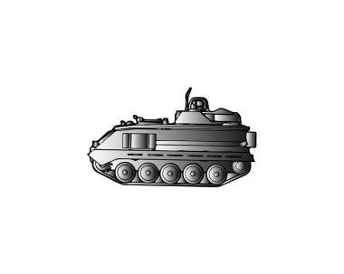 Light armoured reconnaissance vehicle drives on white background