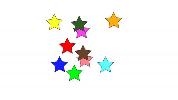 Színes csillag alakú konfetti repülni, miután a fehér háttér előtt robbant. Lassított mozgás.