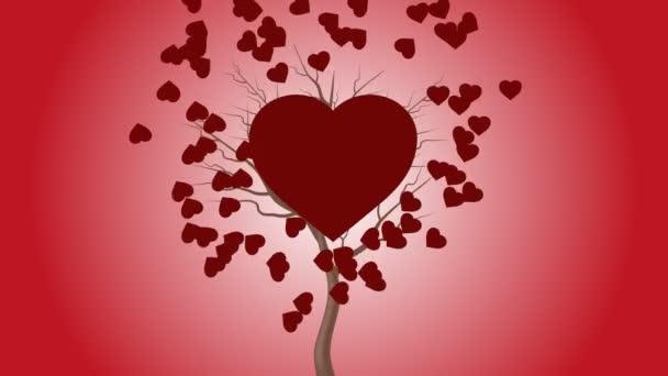 Červené srdce tluče stromem a více srdcí se pohne na pozadí.