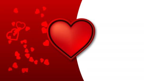 Rudé srdce pulzovat do rytmu a další červené srdce různých velikostí tančí na pozadí.