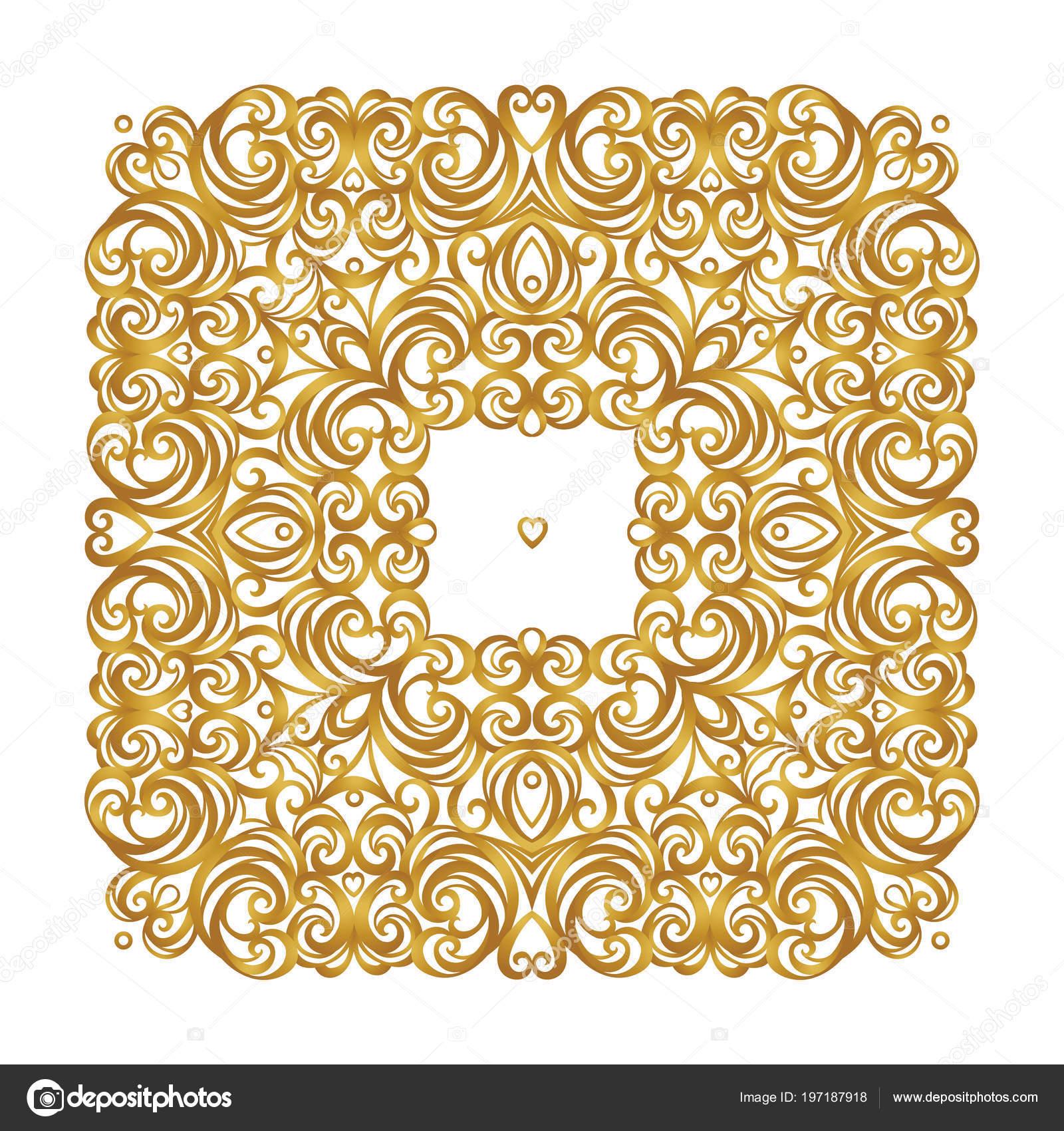 vector square vintage decor ornate floral ornament design template