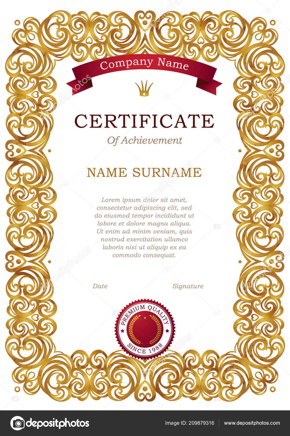 Vector Vintage Frame Eastern Style Certificate Template Golden ...