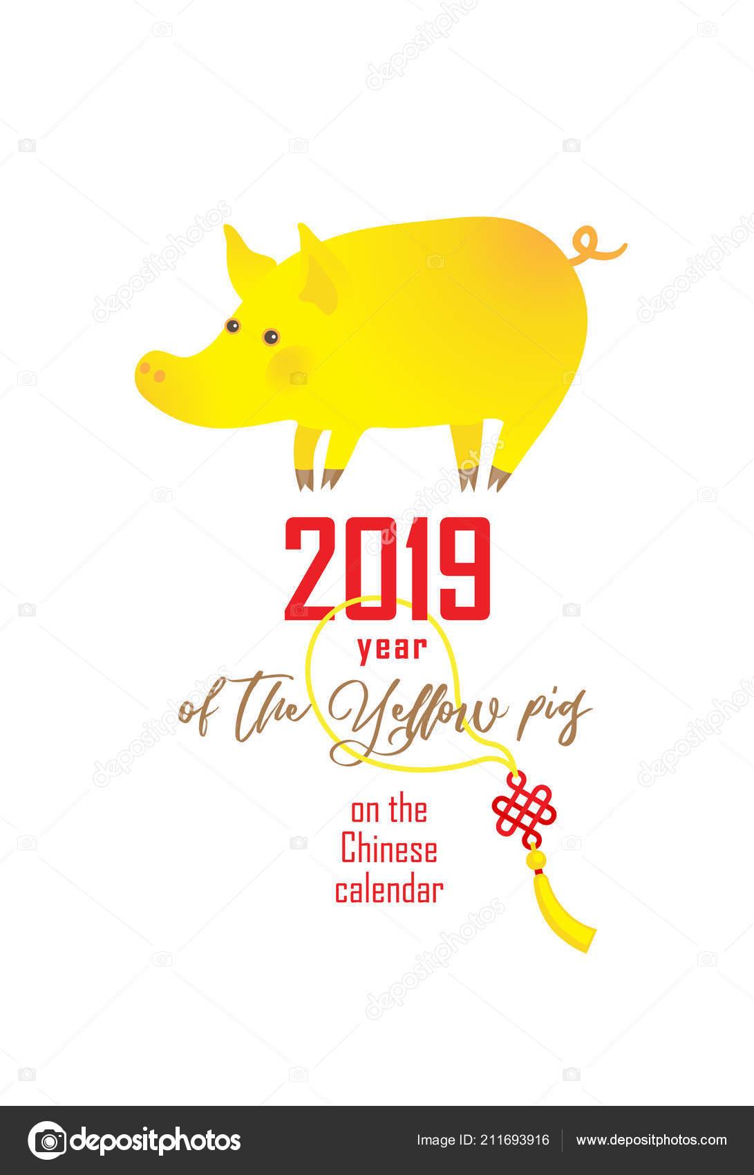 Vector Banner Illustration Kawaii Pig Symbol 2019 Chinese Calendar