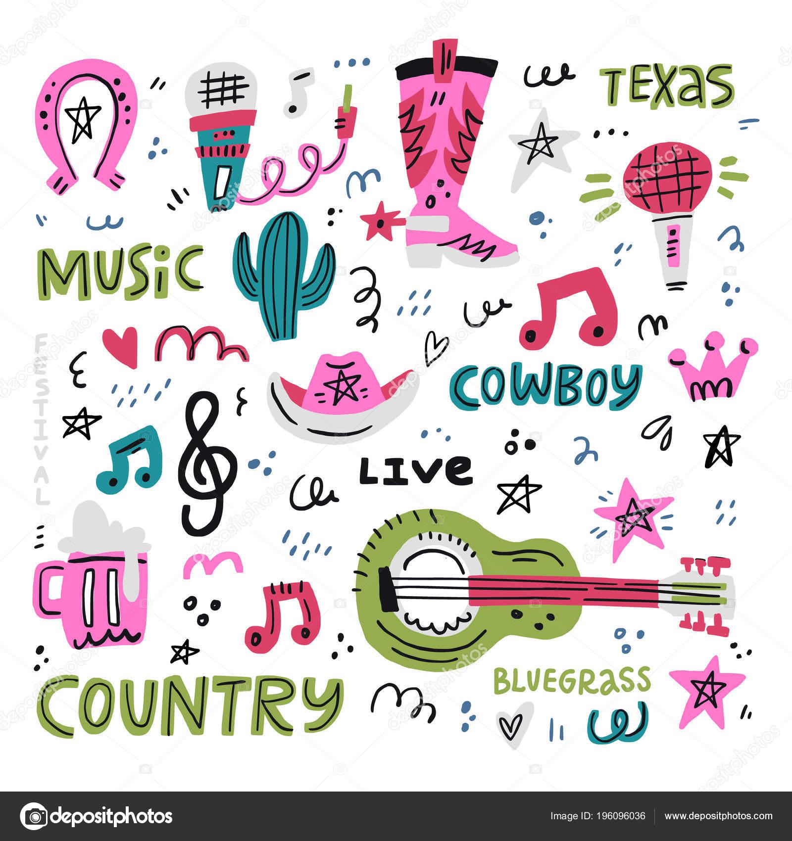 Country Music Illustration Stock Vector Favetelinguis199 196096036