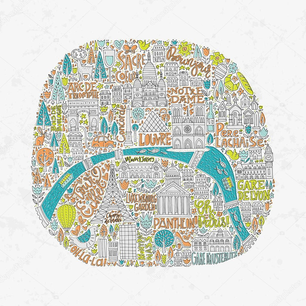 Handdrawn Paris Map