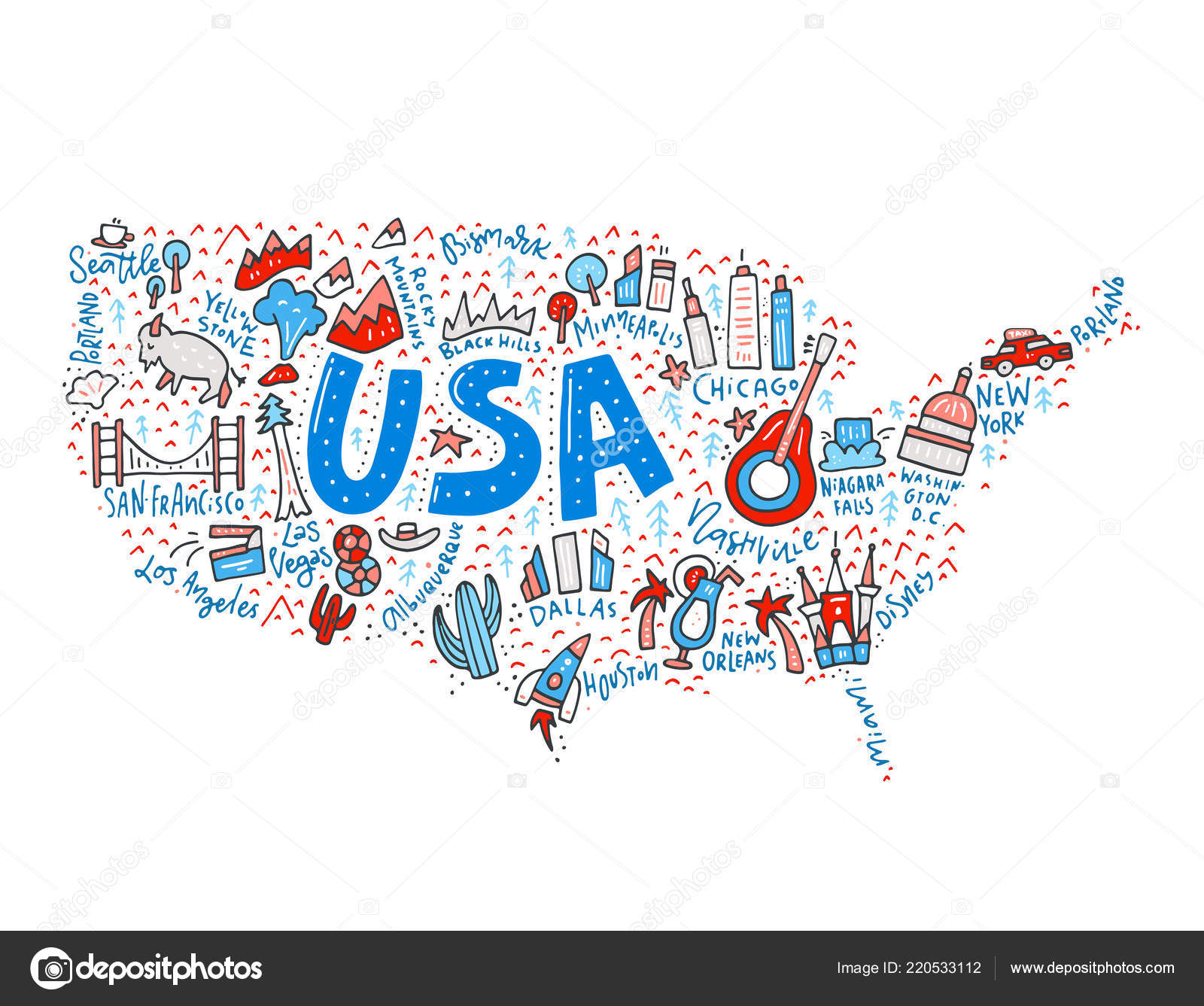 USA Map Vector — Stock Vector © Favetelinguis199 #220533112