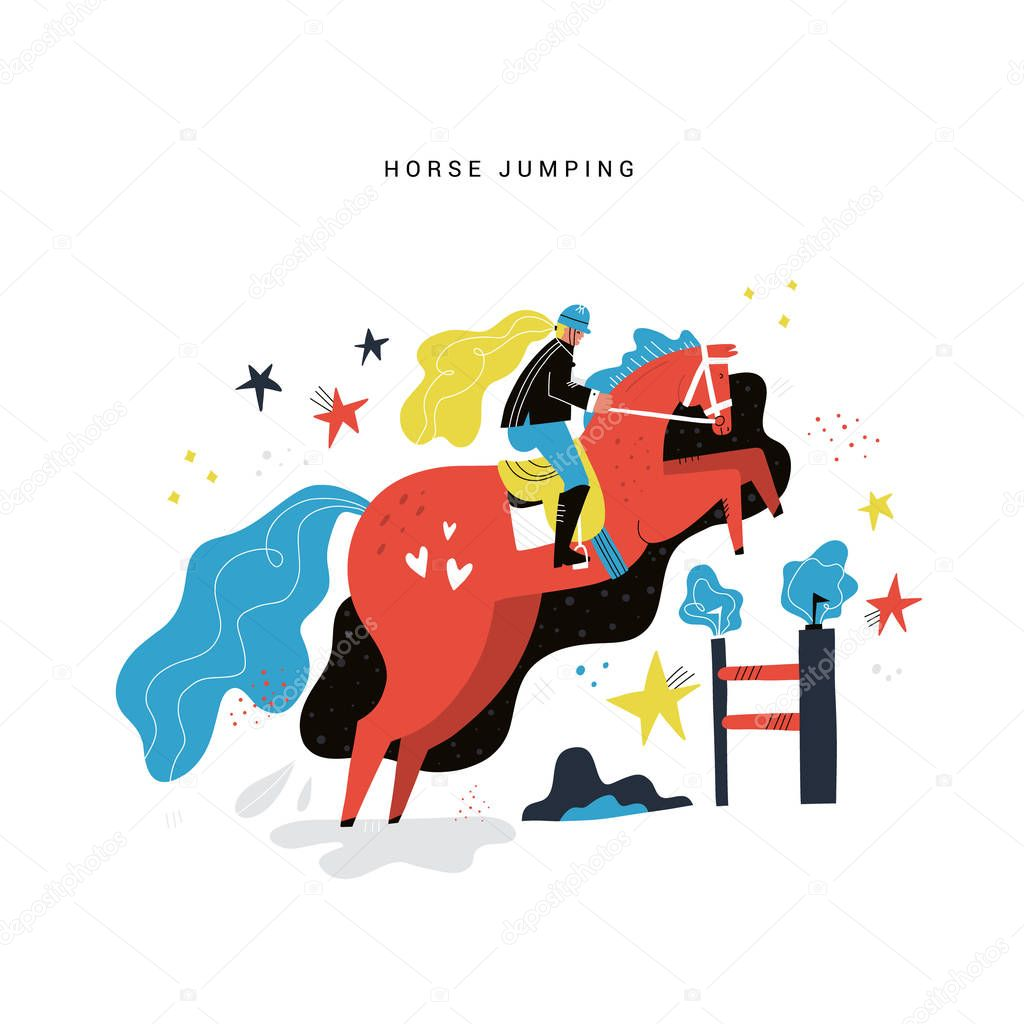 Horseback Riding Flat Hand Drawn Vector Illustration Horse Girl Rider Cartoon Character Equestrian Sport Steeplechase Horse Jumping Over Obstacle Scandinavian Style Drawing Isolated Clipart Premium Vector In Adobe Illustrator Ai