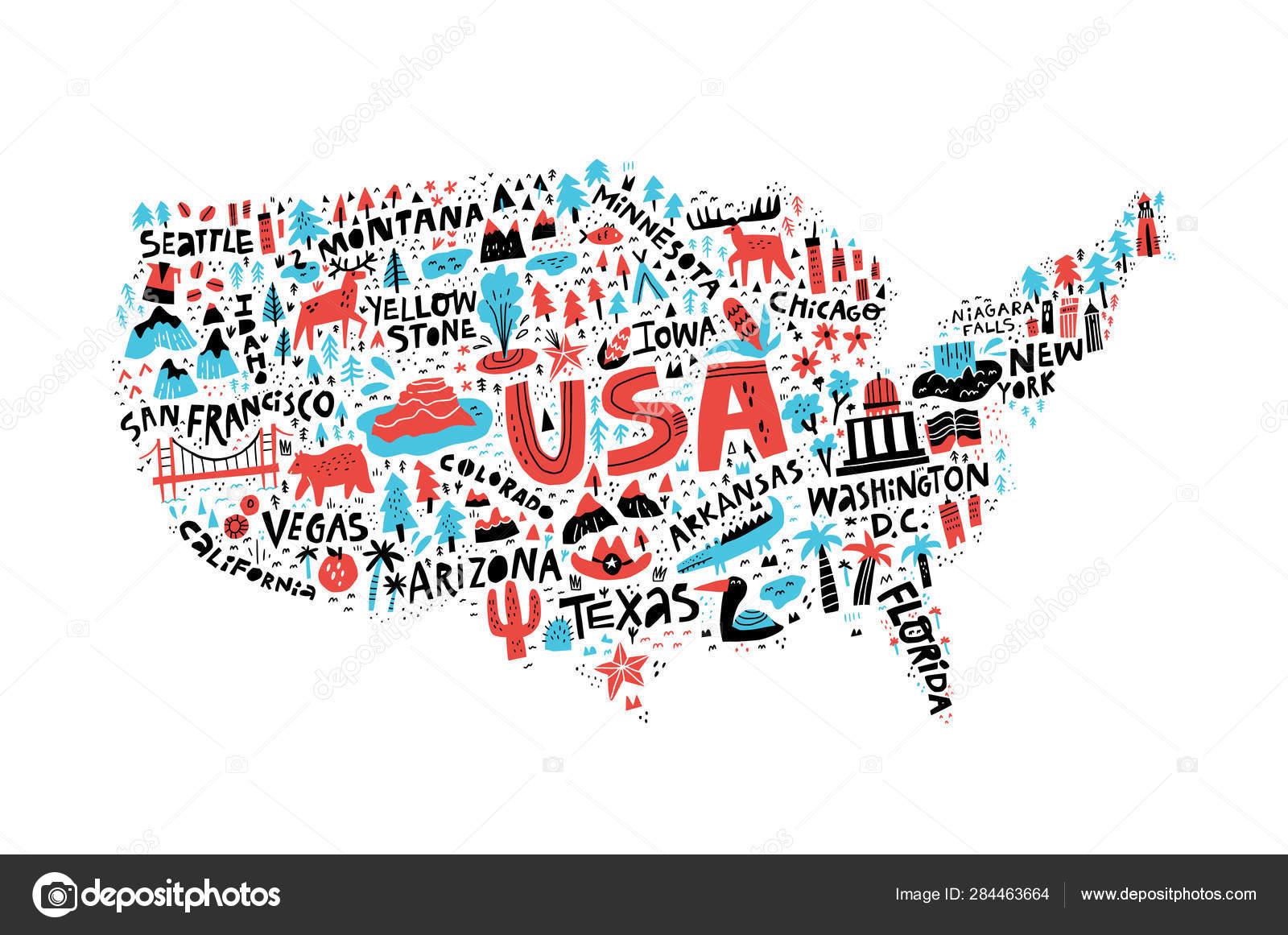USA map flat hand drawn vector illustration. American states ...
