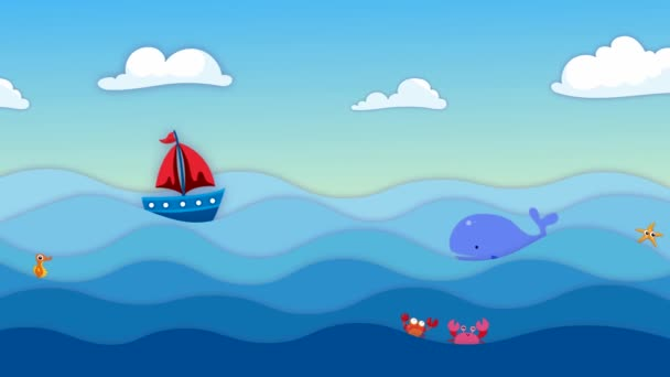 Del fumetto con una barca a vela, nuvole bianche, pesci e mare