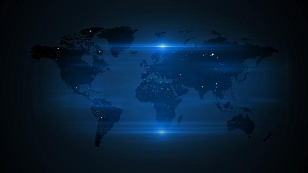 Modrá Světová mapa modrého pozadí. Světová mapa modrých teček.