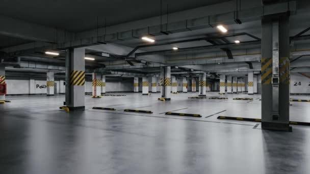 Modern underground parking interior. 3D render