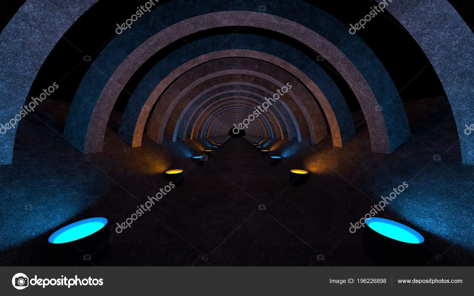 Een concrete corridor sjabloon met verlichting voor gebruik als