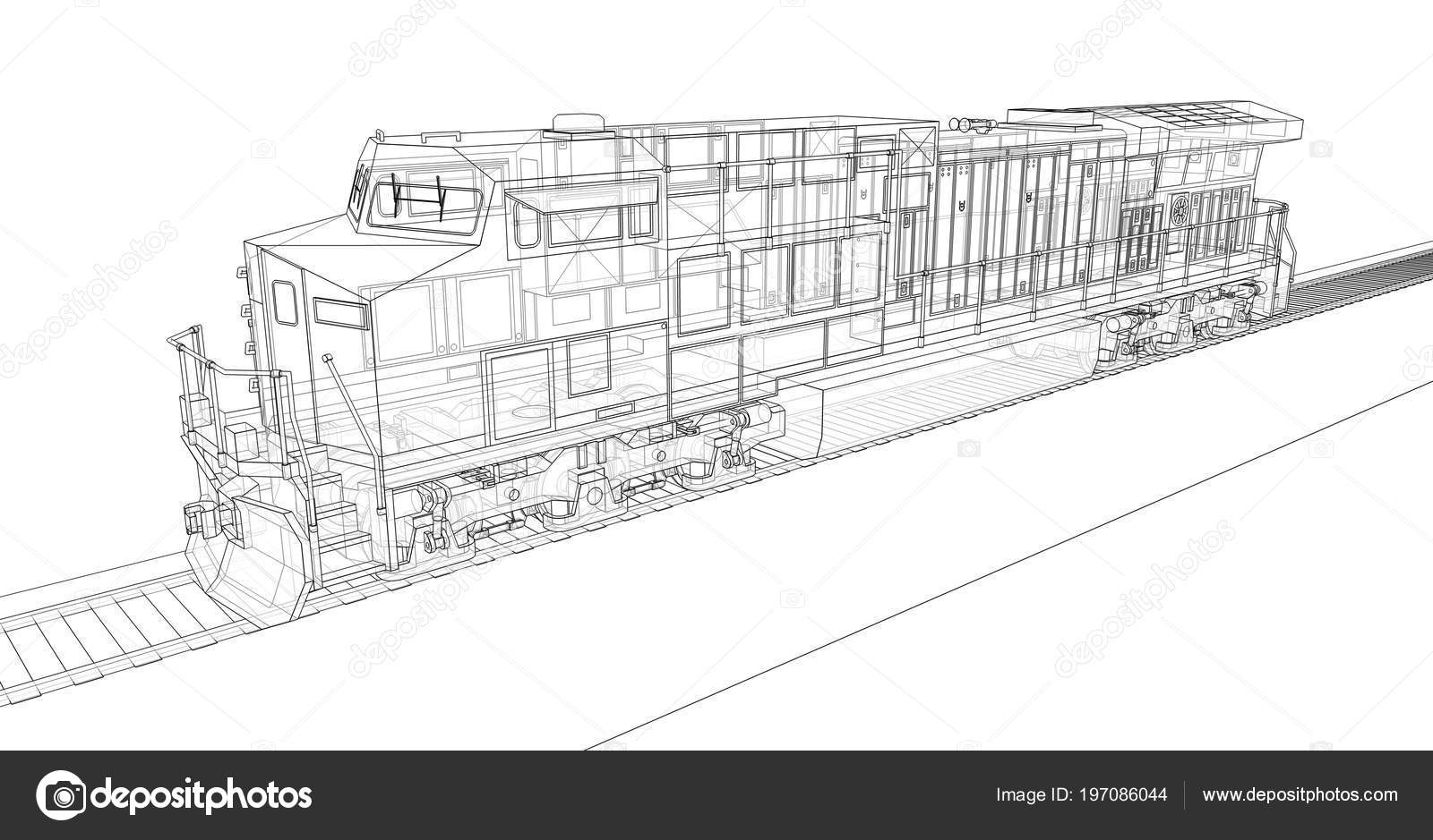 Modern Diesel Railway Locomotive Great Power Strength Moving