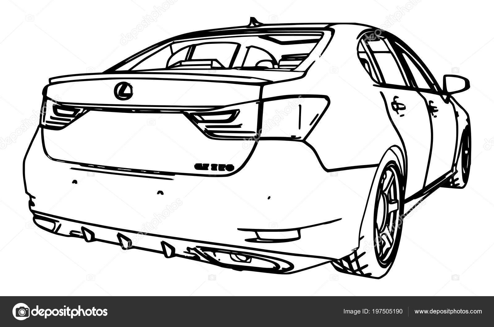 Vector Drawing Lexus Made Black Contour Lines White Background U2014 Stock  Vector