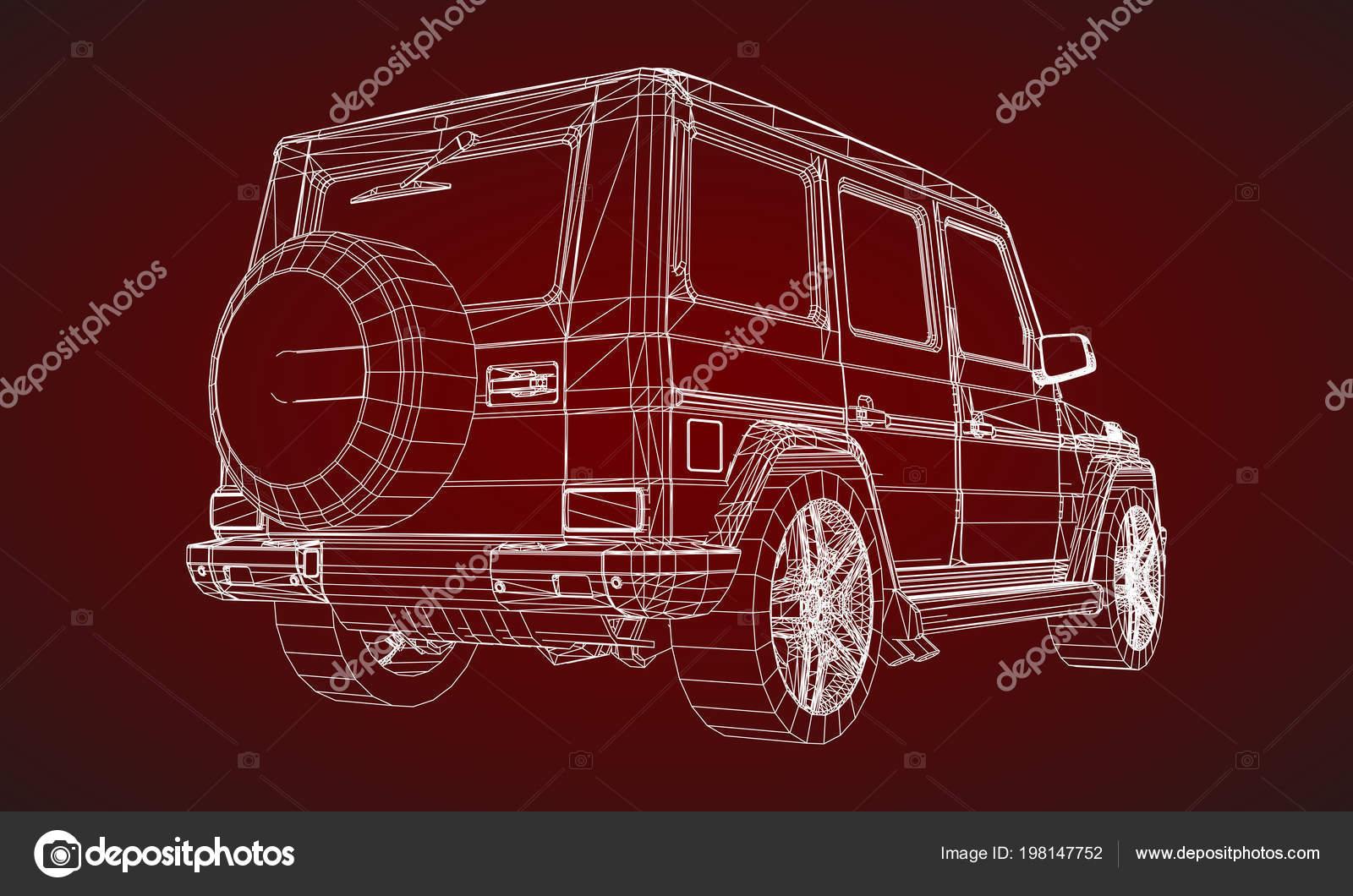 Modelo Marco Premium Suv Con Diseño Clásico Ilustración Vector Una ...