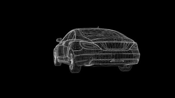 Premium sports sedan of polygonal grid rotates in a circle.