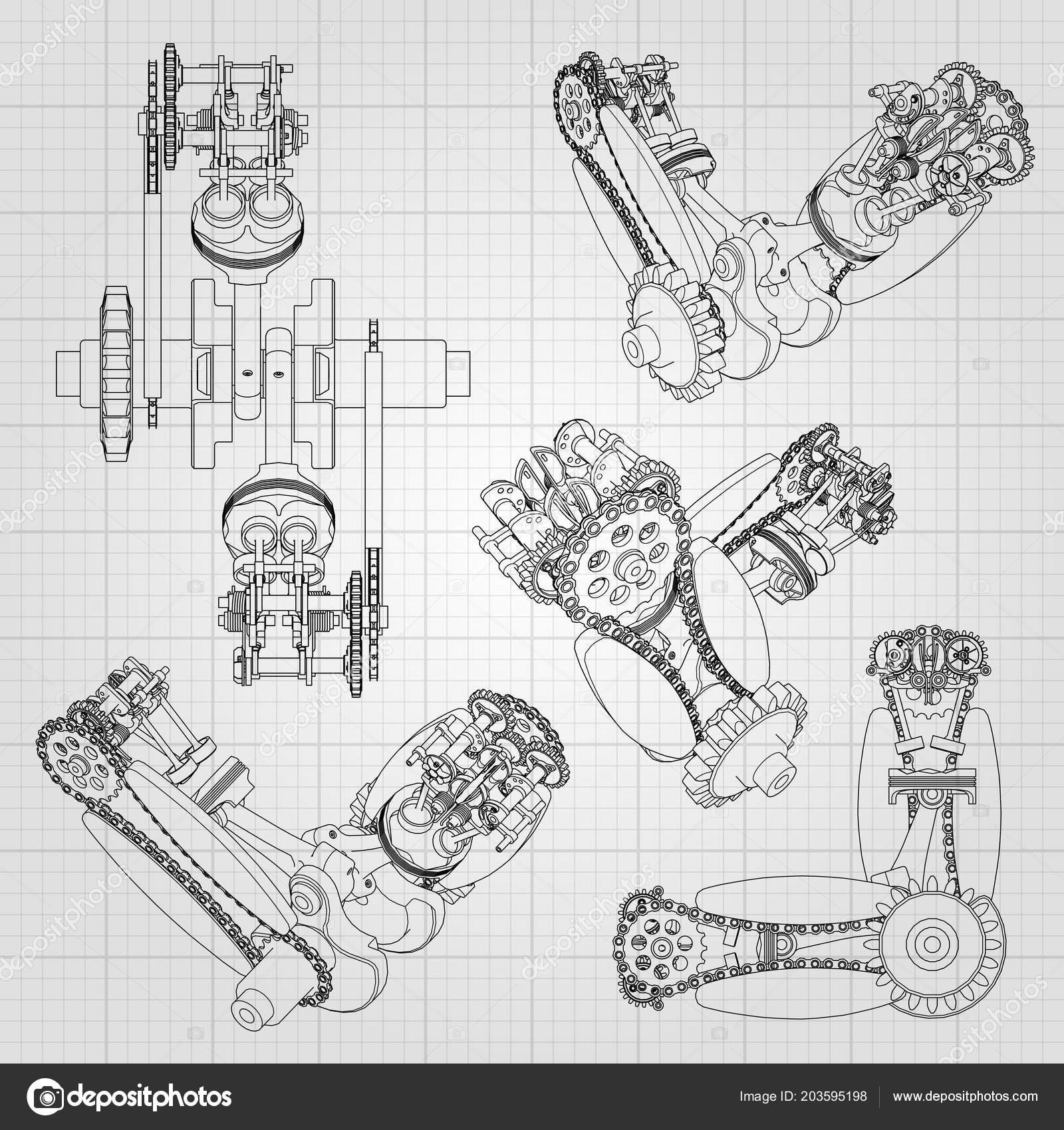 Motoru Ruzne Komponenty Pisty Retezy Trysky Ventily Jsou Znazorneny