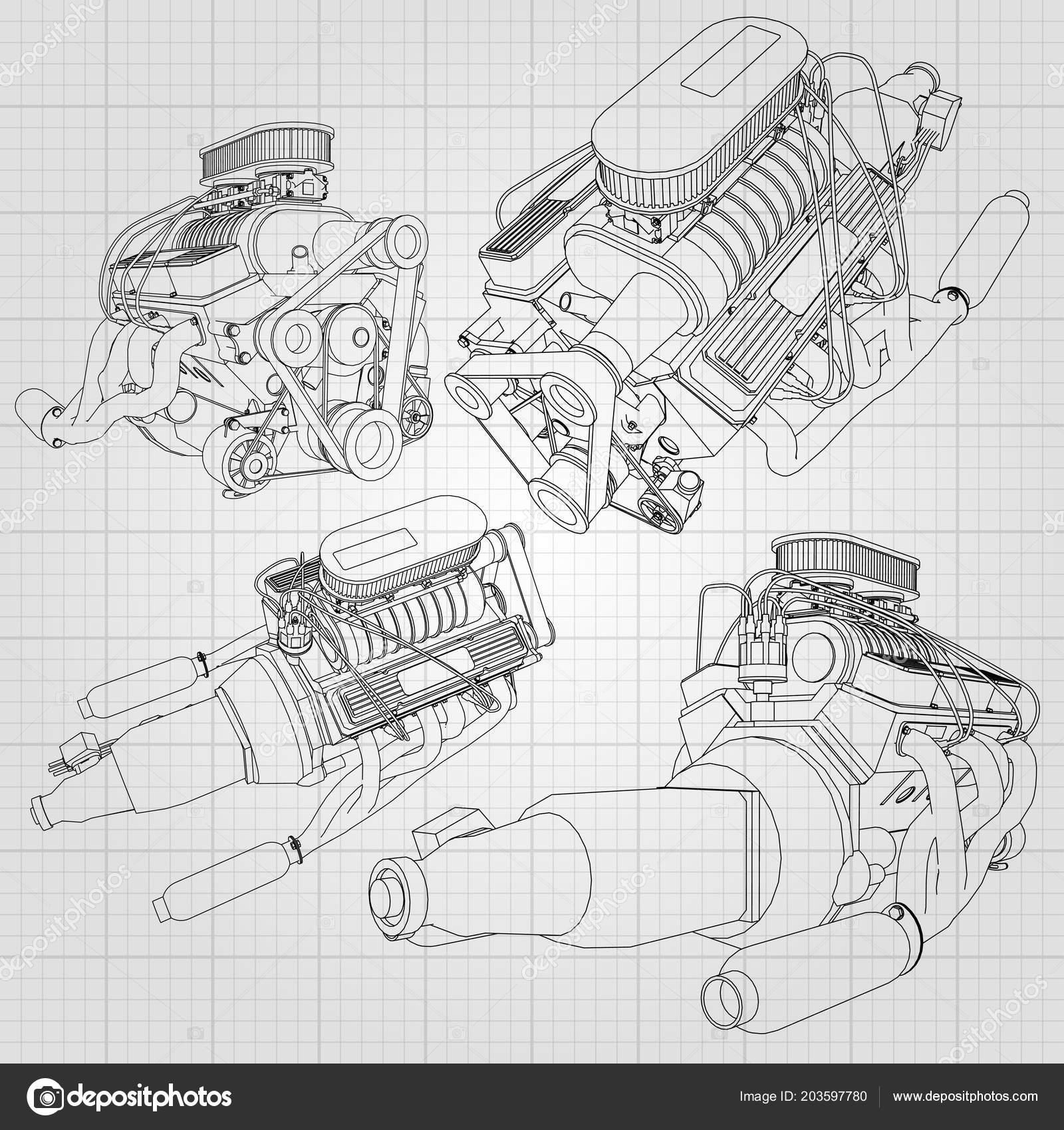Set Several Types Powerful Car Engine Engine Drawn Black Lines ...