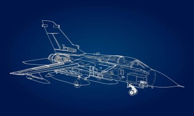 Military jet fighter silhouettes. Image of aircraft in contour drawing lines. The internal structure of the aircraft