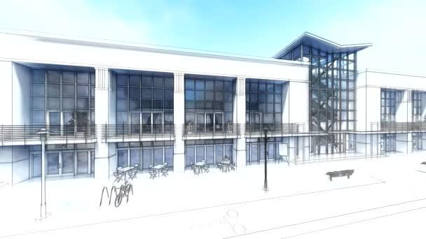Handels- und Bürozentrum mit vielen Geschäften, Cafés und Restaurants. Kultur- und Unterhaltungsraum des städtischen Umfelds. 3D-Darstellung.