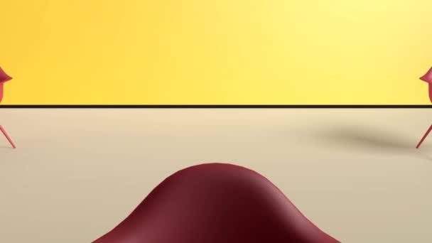 Moderní červené židle v pastelové žluté béžová místnosti. Minimální koncept. 3D vykreslování
