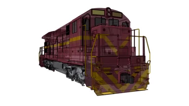 Modern diesel railway locomotive with great power and strength for moving long and heavy railroad train. 3d video illustration with outline stroke lines.