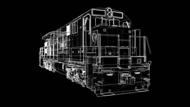 Modern diesel railway locomotive with great power and strength for moving  long and heavy railroad train  3d video illustration with outline stroke  lines