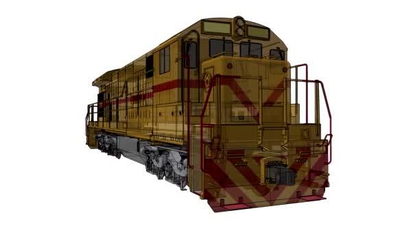 Moderní diesel železniční lokomotiva s velkou moc a sílu pro pohyb dlouhý a těžký železniční vlak. 3D video ilustrace s obrysy tahu linky.