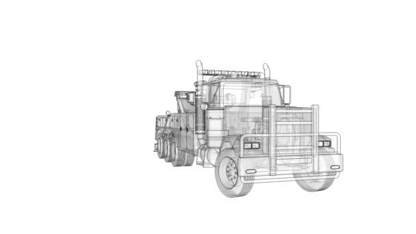 Nákladní odtahovka k přepravě jiných velkých nákladních automobilů a různých těžkých strojů. 3D vykreslování