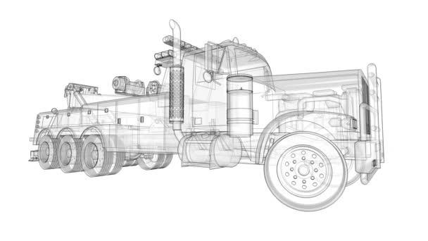 Nákladní odtahovka k přepravě jiných velkých nákladních automobilů a různých těžkých strojů. 3D vykreslování.