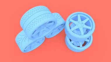 Many sports car wheels standing together. Minimal style installation. 3d rendering