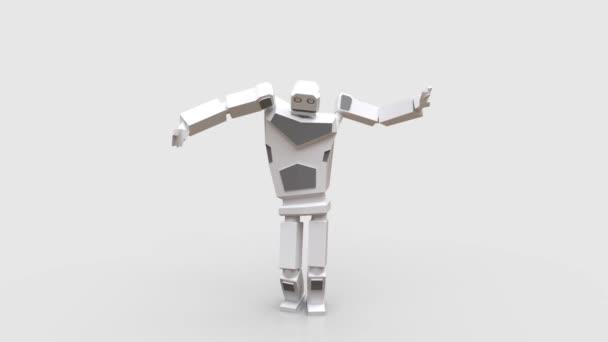 Moderní robot tančí břišní tanec. Velmi přirozený a hladký pohyb robota na bílém podkladu. Opakování videa.