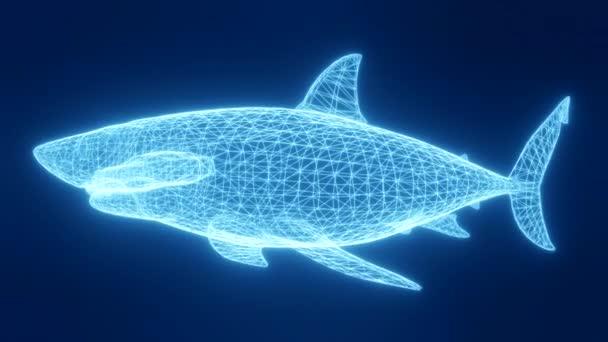 Animation eines Hais in Form glühender Neonstreifen aus einem dreidimensionalen Gitter. Drehen, schwenken und zoomen Sie das Objekt im Raum. 3D-Darstellung.