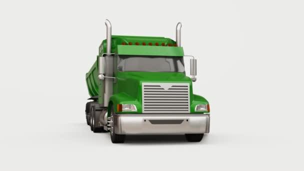 Großer grüner amerikanischer LKW mit Anhänger für den Transport von Schüttgut auf weißem Hintergrund. 3D-Illustration.