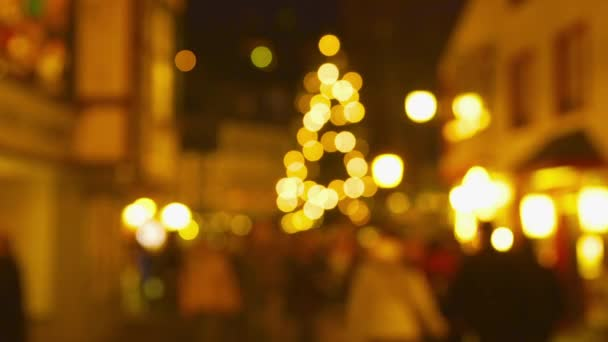 Christmas Market Impressions - Defocused shot of a beautiful Christmas market by night - time lapse - ProRes